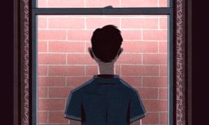 Illustration by Bill Bragg of child staring at brick wall
