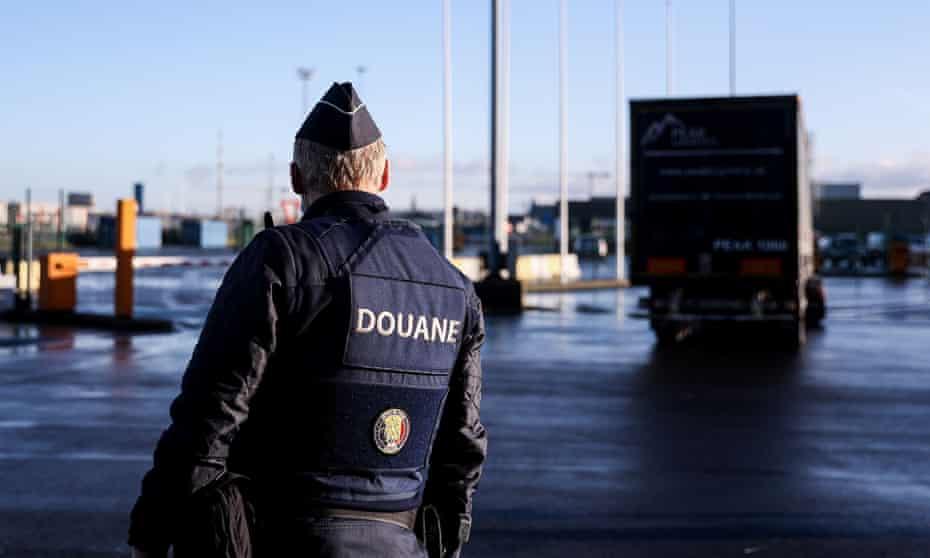 A Belgian customs officer in the port of Zeebrugge.