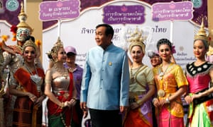 The Thai prime minister, Prayut Chan-ocha (centre), pro-junta leader of the Phalang Pracharat party, which claims it won the popular vote.
