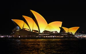 Sydney Opera House in Australia is lit in gold to mark the start of Diwali