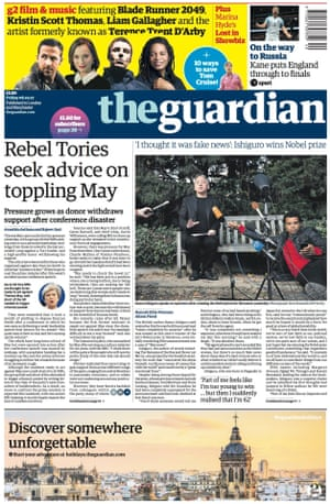 Guardian front page, Friday 6 October 2017