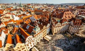 Orange roofs of Prague Old Town and town square