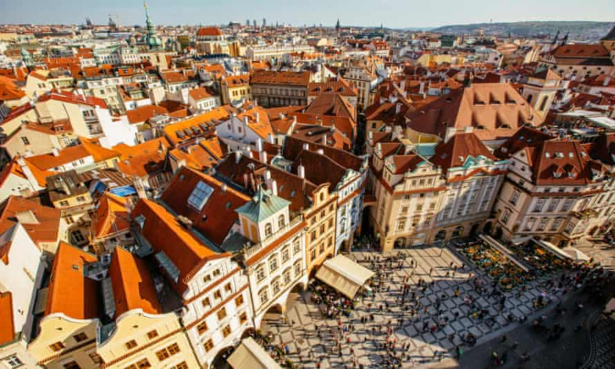 Picturesque buildings and a square in Prague's old town, seen from above