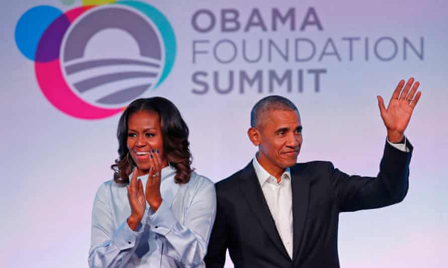 Former president Barack Obama and his wife Michelle arrive at the Obama Foundation summit in Chicago, Illinois, on 13 October 2017.
