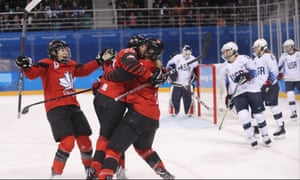 Canada players celebrate during their victory over Team USA at the Winter Olympics