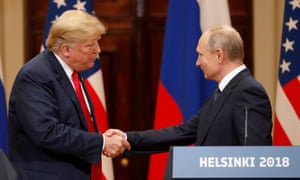 Donald Trump and Russian president Vladimir Putin during a joint press conference following their summit talks in Helsinki, Finland, on 16 July 2018.