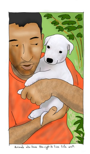 Drawing of Mansour Shoushtari with a puppy by First Dog on the Moon.