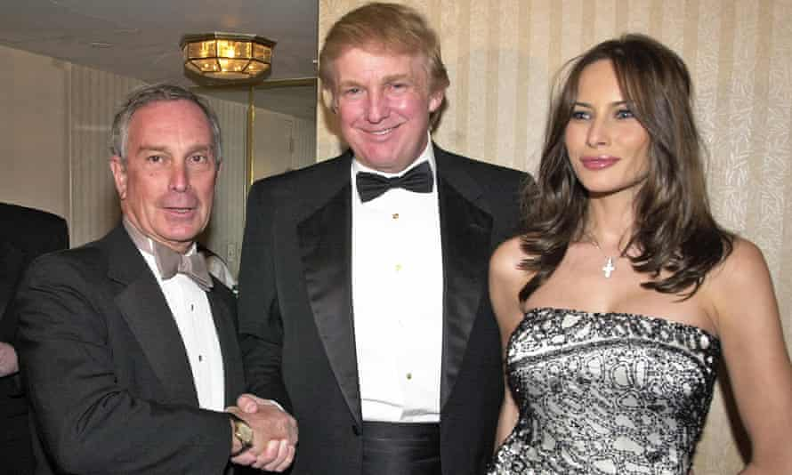 Michael Bloomberg with Donald Trump and Melania Knauss in Washington DC, on 28 April 2001.
