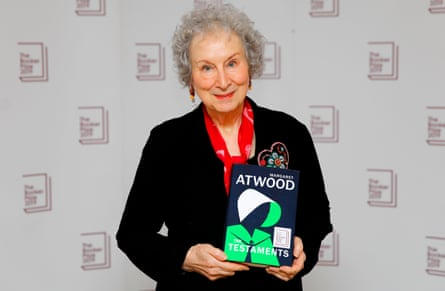 Canadian author Margaret Atwood poses with her book 'The Testaments' during the photo call for the authors shortlisted for the 2019 Booker Prize for Fiction at Southbank Centre in London on October 13, 2019.