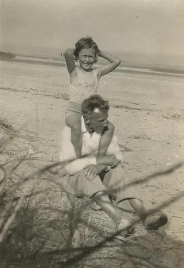Betty on Frank's shoulders