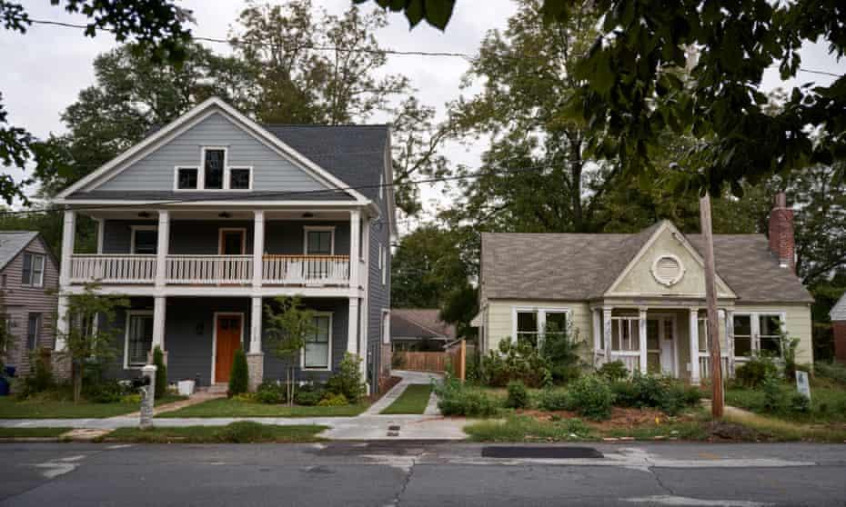Modern houses next to older homes in Old Fourth Ward, Atlanta, GA