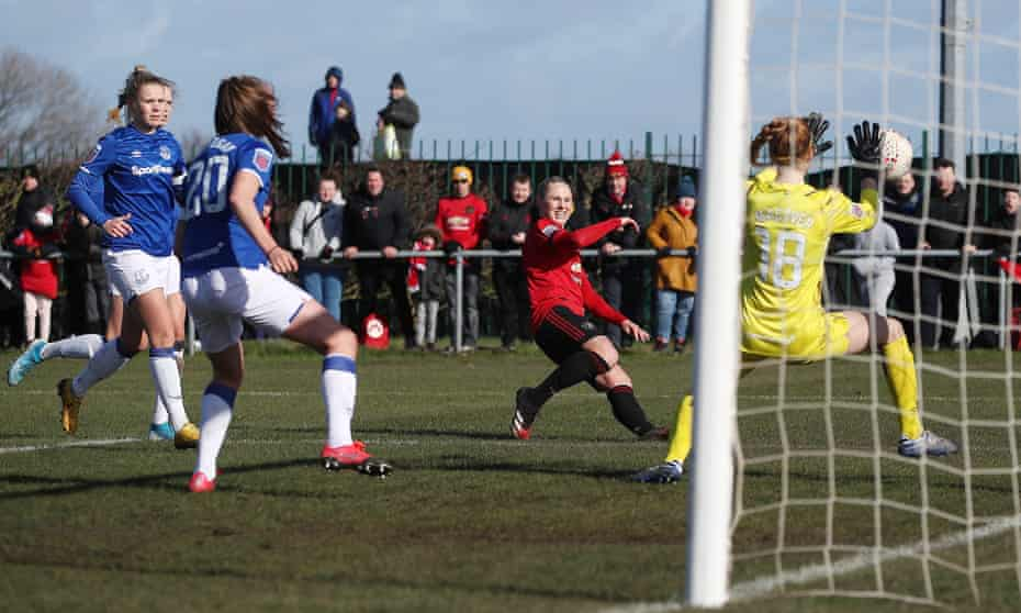 Leah Galton fires home Manchester United's first goal in their 3-2 win at Everton on 23 February, the last day of WSL matches before the league was postponed.