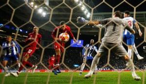 Liverpool's Virgil van Dijk scores their fourth goal.