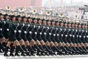 Soldiers from the People's Liberation Army (PLA) march in formation during the military parade
