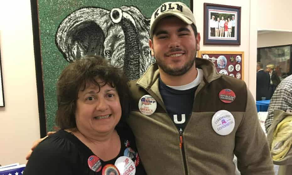 Trump supporters Robin Speece and Nick Stamp at a Trump election night event in Youngstown, Ohio. 'It would have meant socialism in this country if Clinton had won,' Speece said.