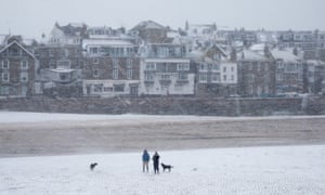 Wintry weather in St Ives, Cornwall.