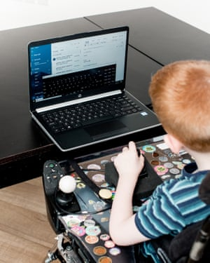 Chase's OSK, powered by Windows 10, enables him to keep in touch with family and friends.