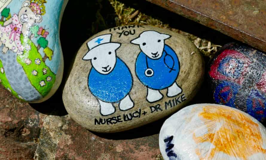 'Thank you Nurse Lucy and Dr Mike': painted stones, Wantage, Oxfordshire.