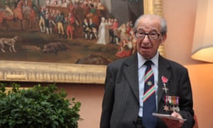 Harry Shindler at his MBE award ceremony in 2014.