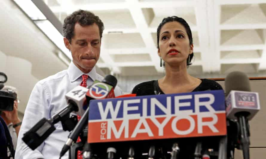 Anthony Weiner and Huma Abedin during his 2014 New York mayoral campaign.