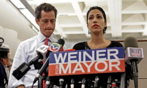 Huma Abedin with her husband Anthony Weiner during his New York mayoral campaign, 2013