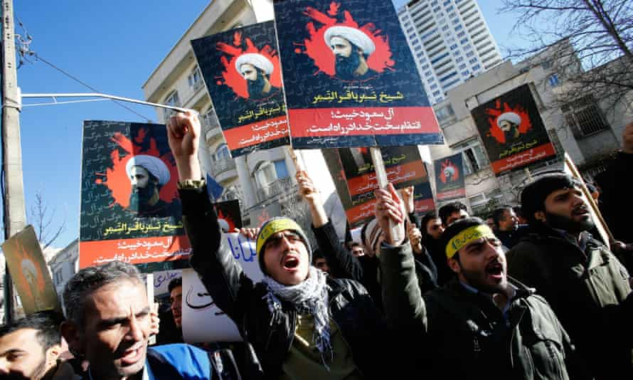 A protest in Tehran against the execution of Shia cleric Sheikh Nimr al-Nimr