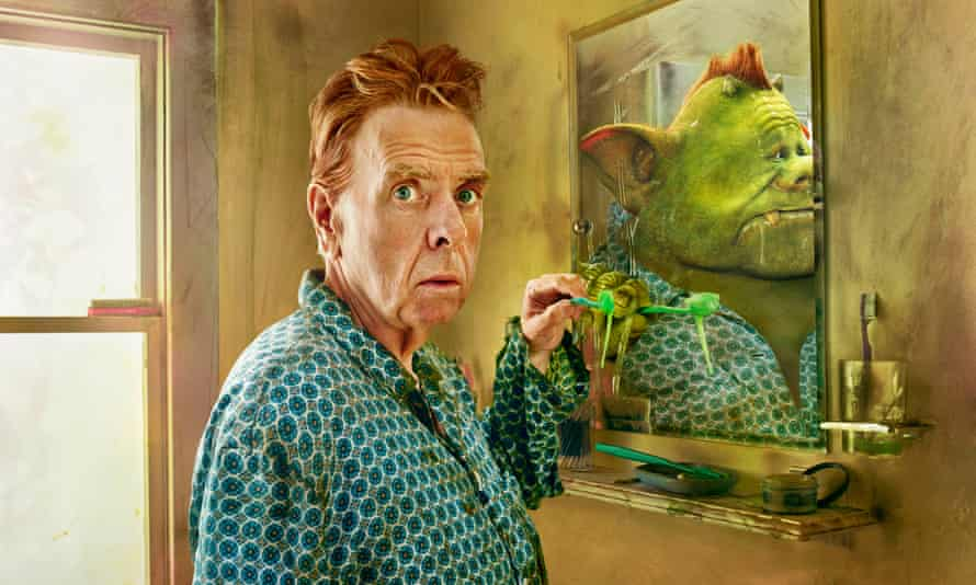 Slimy characters: Timothy Spall reflected in the mirror as Fungus, the dirt-dwelling, filth-eating monster