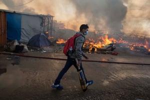A man in a the Calais camp