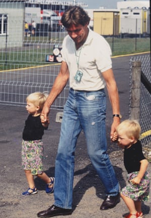 James Hunt at the 1989 British Grand Prix with his sons Freddie (right) and Tom.