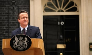 Cameron delivers a speech outside10 Downing Street.