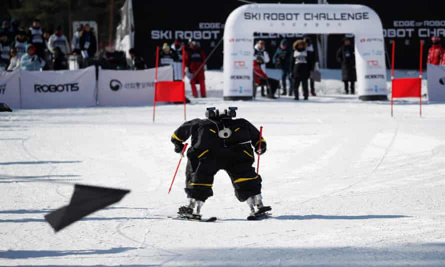 Robot Alexi takes part in the Ski Robot Challenge at Hoenseong.