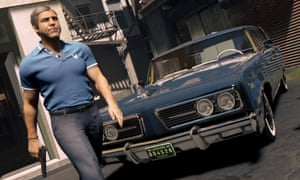 Mafia 3 screenshot showing a mafia member walking away from his car with a gun