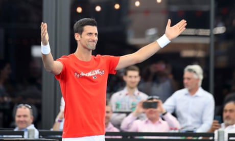 Djokovic pulls out before exhibition match then reappears for second set