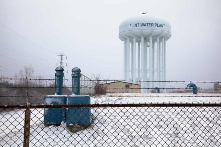 The water tower at Flint's water treatment plant.