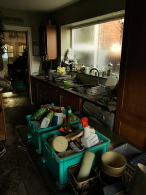 Inside a kitchen on Warwick Road after the flood had subsided