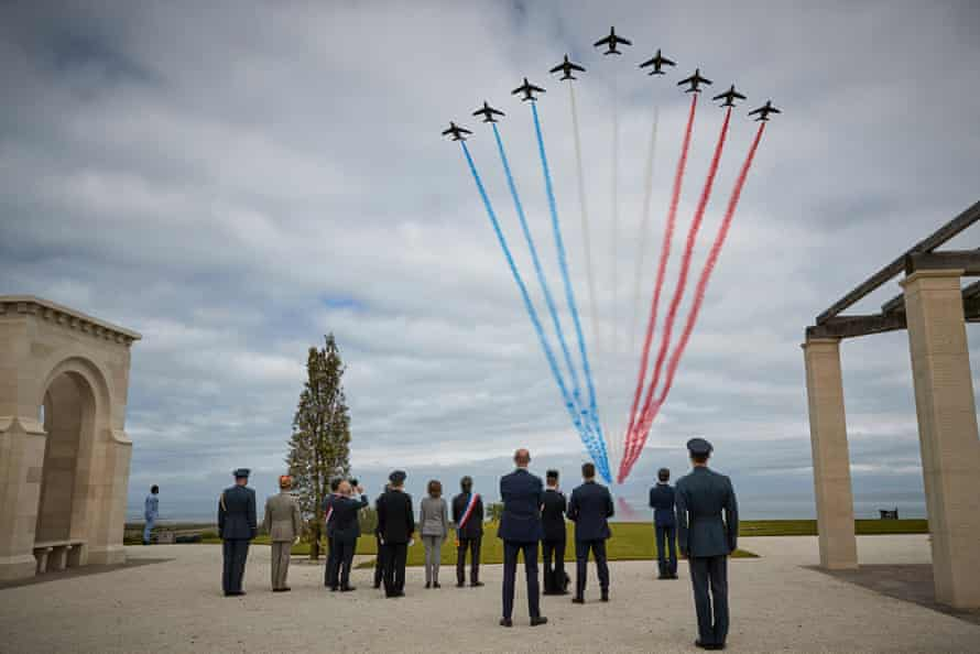 The Patrouille de France fly over the British Normandy memorial during the opening ceremony on the 77th anniversary of D-day.