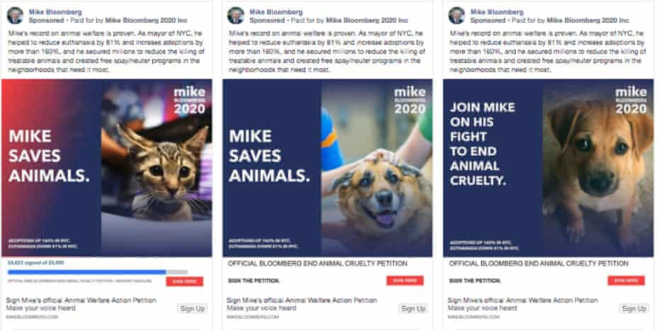 Mike Bloomberg is also running Facebook ads about imperiled and adorable animals.