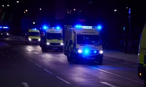 Ambulances set out after the Manchester Arena explosion.
