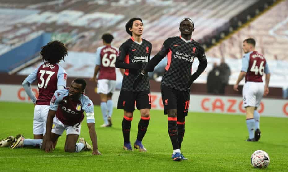 Sadio Mané reacts to scoring against Aston Villa in the FA Cup, but should he and Mo Salah have been playing against a youthful Villa side?