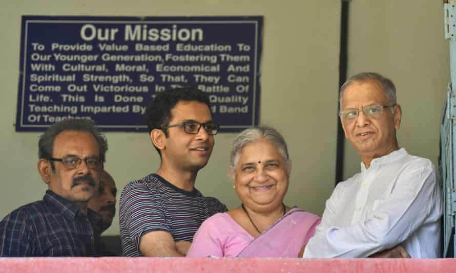Infosys founder and mentor Narayana Murthy (R), his wife Sidha Murthy and son Rohan Murthy in Bangalore in 2019