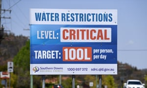 A billboard in Stanthorpe, Queensland. Since the photo was taken, residents have been further restricted to 80L a day.