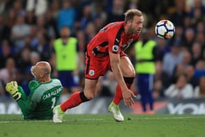 Depoitre clatters Caballero and goes on to score the opener.