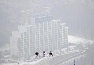 Women's Ski Cross Finals - Katrin Ofner of Austria, Sanna Luedi of Switzerland and Priscillia Annen of Switzerland compete.