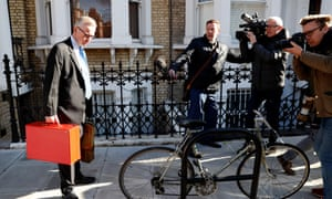 Michael Gove, the environment secretary, leaving his home this morning. Yesterday he denied reports that he was angling to take over from Theresa May as prime minister.