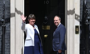 The DUP leader, Arlene Foster, and MP Nigel Dodds arrive at 10 Downing Street.