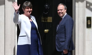 Arlene Foster, the DUP leader, and MP Nigel Dodds arrive at Downing Street for talks with Theresa May last week.