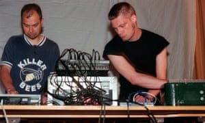 Mika Vainio, left, and Ilpo Vaisanen performing as Pan Sonic in Brooklyn in 2000.