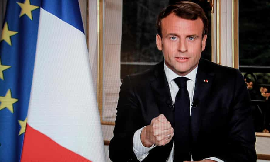 French president Emmanuel Macron pledges in a TV broadcast to rebuild the cathedral on the day after the fire.