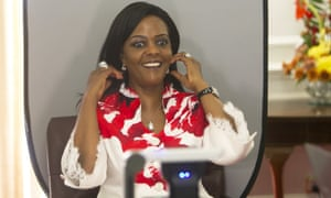 Zimbabwean first lady Grace Mugabe reacts as her picture is taken at an event last month.