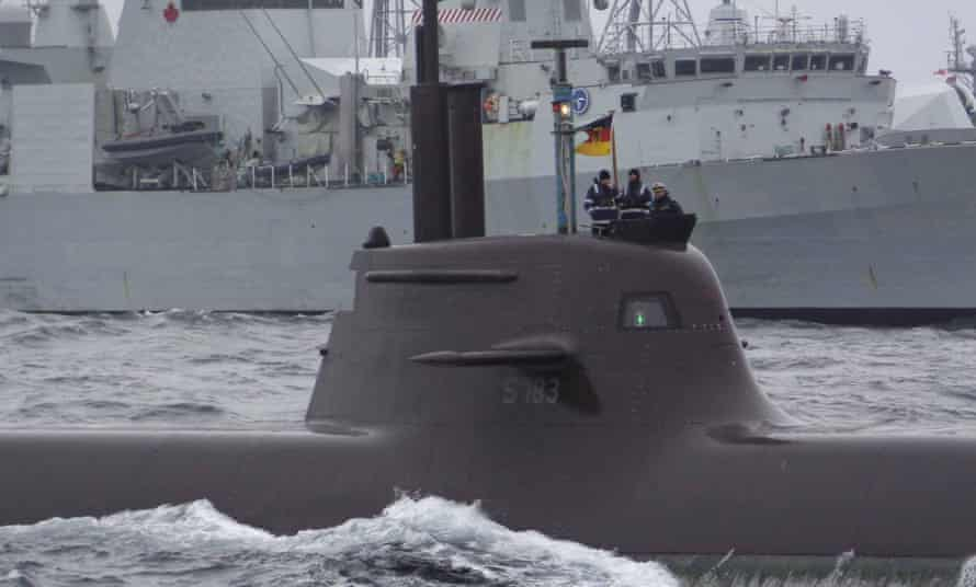 A German submarine takes part in a Nato exercise in the North Sea off Norway. The alliance has been intercepting more Russian planes over the Black, Baltic and Norwegian seas, Stoltenberg said.
